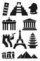 Landmark and travel icons. Black Series vector