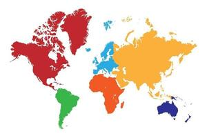 High resolution world map with continent in different color. vector