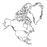 North America map with Greenland. Outline North America map vector