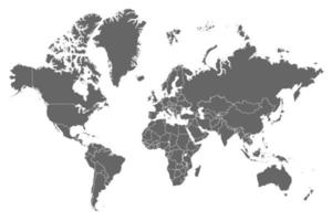 High resolution grey map of the world split into individual countries. vector