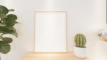 marco de fotos de pared de sala de estar con florero, estilo 3d