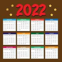 2022 Calendar Design Template vector