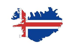 Iceland map silhouette with flag on white background vector