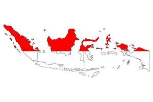 Indonesia map silhouette with flag on white background vector