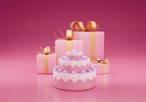 Cute birthday cake 3d pink color with gift box on a pink background photo