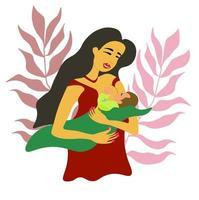 madre está amamantando a su bebé recién nacido en sus brazos. mujer con niño vector