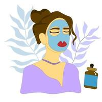 brunette in a cosmetic mask. woman doing a skin care procedure. Vector
