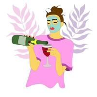 brunette in a T-shirt and a cosmetic mask pours wine in glass. vector