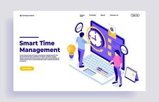 Business time management concept with characters vector
