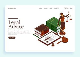 Lawyer office with signed legal contract judge gavel scales of justice vector
