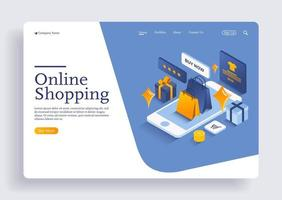 Shopping online on website or mobile application isometric concept vector