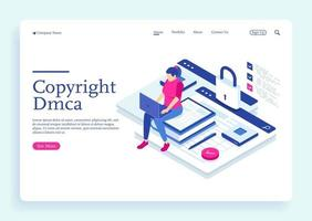 A woman with dmca data copyright and electronic digital contract vector