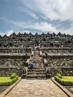 Magelang, Indonesia, 2021 - Borobudur temple from the middle side photo