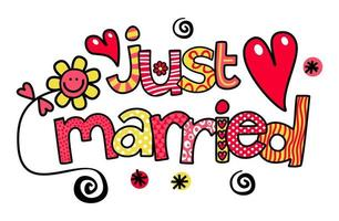 Just Married Wedding Text Title Lettering vector