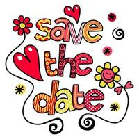 Save the Date Wedding Text Title Lettering vector