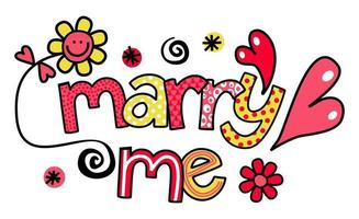Marry Me Wedding Text Title Lettering vector