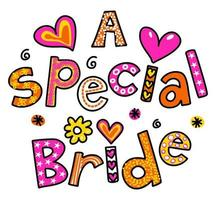 A Special Bride Wedding Text Title Lettering vector