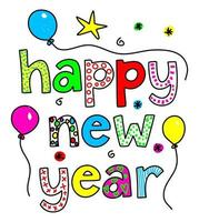 Happy New Year Doodle Text Title Lettering vector