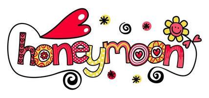 Honeymoon Wedding Text Title Lettering vector