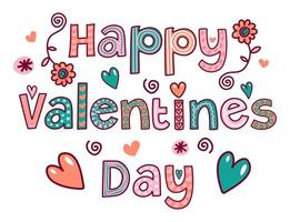Happy Valentines Day Doodle Text Title Lettering vector