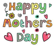 Happy Mothers Day Doodle Text Title Lettering vector