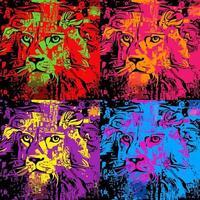 Pop Art Lion Retro Portrait Painting vector