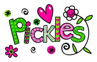 Pickles Hand Drawn Doodle Text Title Lettering vector