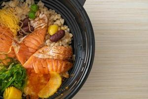 Grilled salmon with brown rice donburi photo