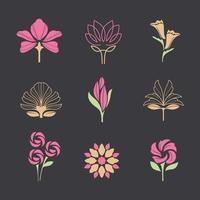 Set of Minimalist Flowers Logo vector