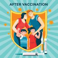 Family Showing After Vaccination Concept vector