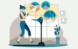 Virtual Reality Machine and Treadmill Concept vector