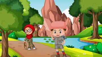 Nature scene with muslim kids exploring in the forest vector