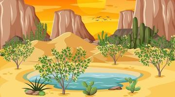 paisaje de bosque desértico en la escena del atardecer con oasis vector