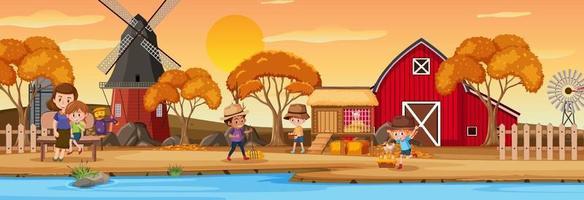 Farm horizontal landscape scene with children cartoon character vector