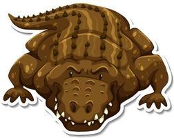 A sticker template of crocodile cartoon character vector