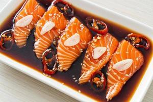 Salmon marinated shoyu or salmon pickled soy sauce photo