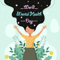 Mental Health Day With Happy Woman vector