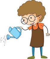 Little gardener doodle cartoon character vector