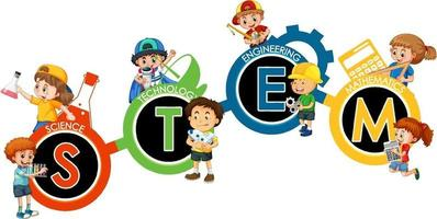 STEM education logo with many children cartoon character vector
