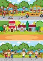 Different nature scenes with doodle kids cartoon character vector