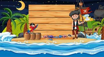 Pirate kids at the beach night scene with empty wooden board template vector