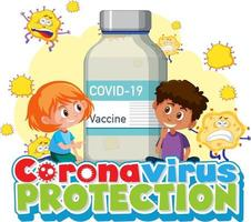 Coronavirus Protection with children and vaccine bottle vector