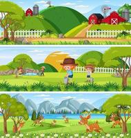 Different nature scenes at daytime scene with cartoon character vector