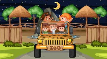Safari at night scene with many kids in a jeep car vector
