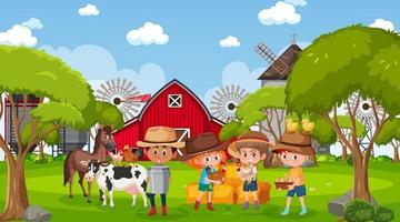 Farm scene with many kids and farm animals vector
