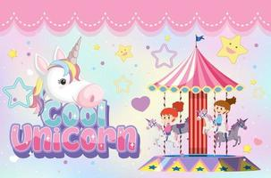 Cool unicorn font with kids playing carousel vector