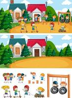 Playground scene set with many kids doodle cartoon character isolated vector