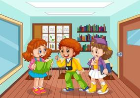 Students talking together in the classroom vector
