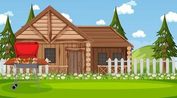 Wooden house in nature scene with barbecue grill stove vector