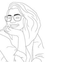 coloring Pages - Happy Women Illustrated on an isolated background vector